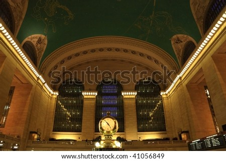 Clock and ceiling constellations in great hall in Grand Central Terminal - New York - stock photo