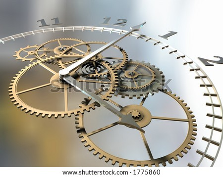 Clock and cogs - stock photo