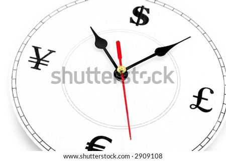 clock and currency Sign, concept of time is money