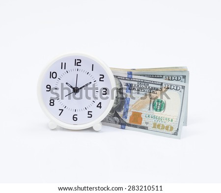 Clock and dollar bill for money and time concept - stock photo