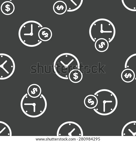 Clock and dollar symbol near it, repeated on grey background - stock photo