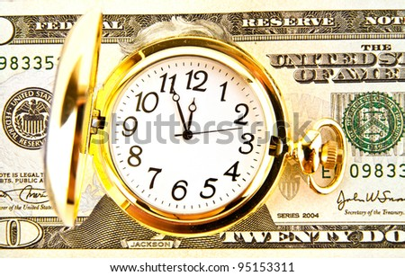 clock and dollars on a white background - stock photo