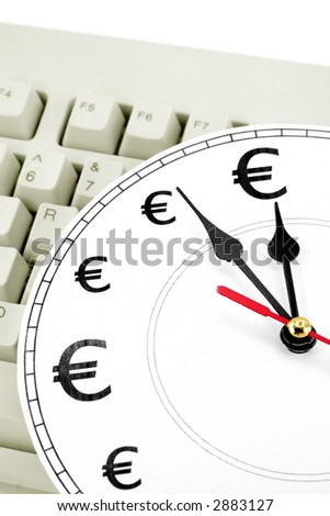 clock and Euro Symbol, concept of time is money