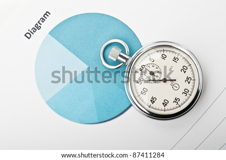 clock and financial growth chart on the table in the office - stock photo