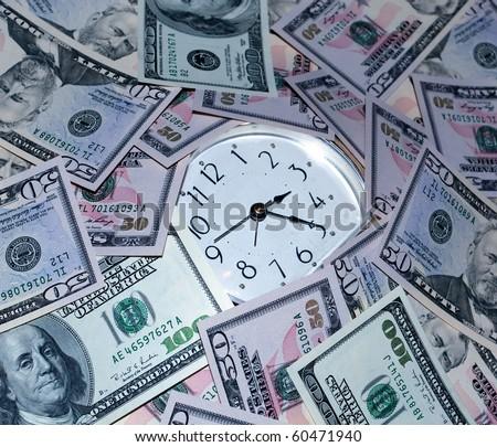 clock and money - stock photo