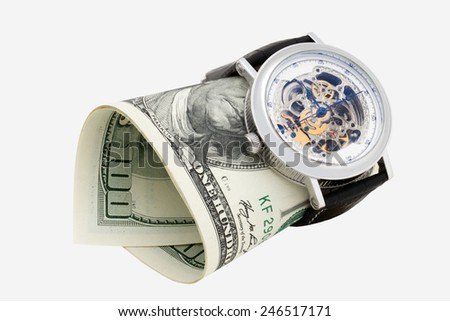 clock and money close up on white background