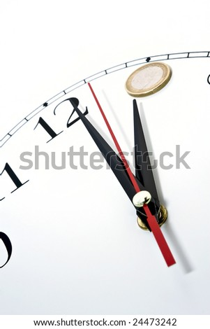 Clock and money white background isolate.