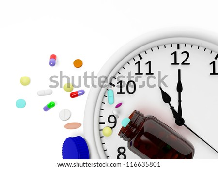Clock and pills come out from a medicine bottle - stock photo