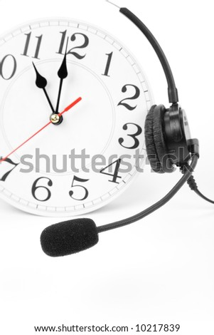 clock and telephone, around the clock supporting - stock photo