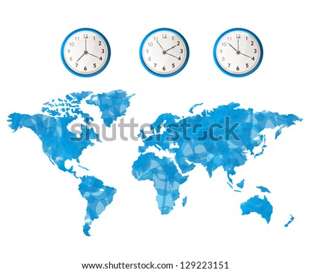 Clock and world map concept