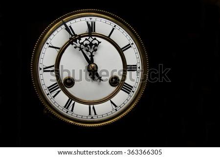 Clock at midnight - stock photo