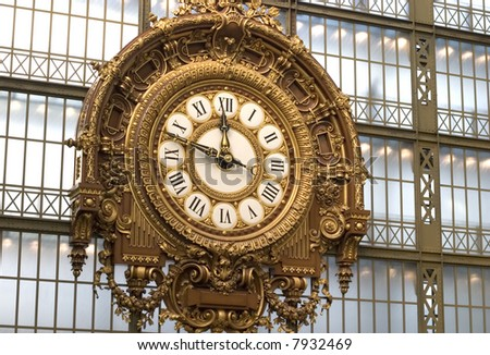 Clock at the Orsay Museum (Musee d'Orsay) - stock photo