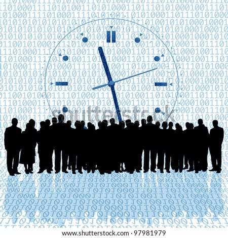clock background and business people silhouette - stock photo