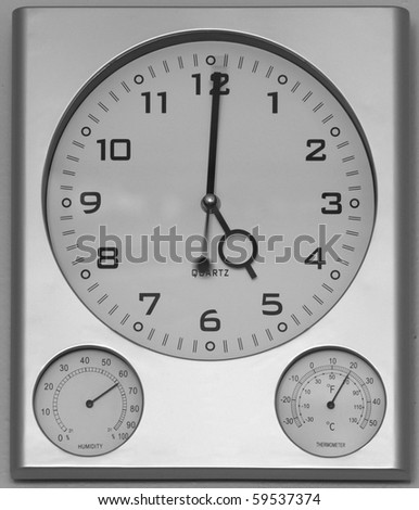 clock barometer - stock photo