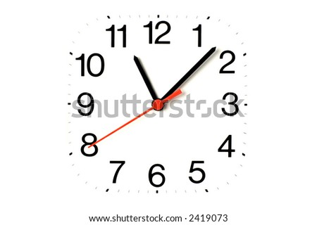 clock close up on white useful for background - stock photo