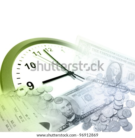 Clock, coins and banknotes. Time is money concept - stock photo