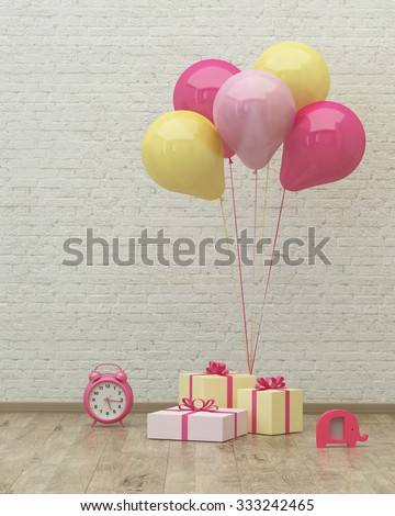 Clock ,colorful ballons and presents for girl party on the background of brick wall, 3d render - stock photo
