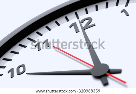 Clock detail view isolated on blue background - stock photo