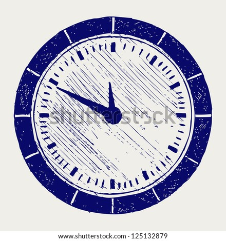 Clock. Doodle style. Raster version - stock photo