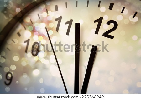 Clock face and abstract background. New Year. Christmas - stock photo