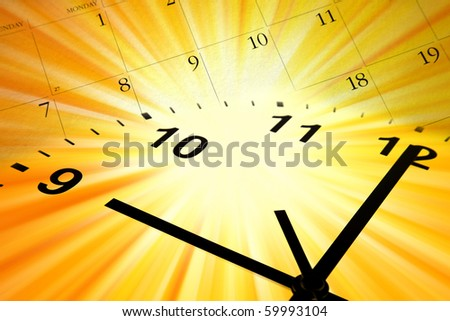 Clock face and calendar on bright yellow background