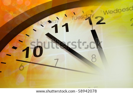Clock face and calendar on color background