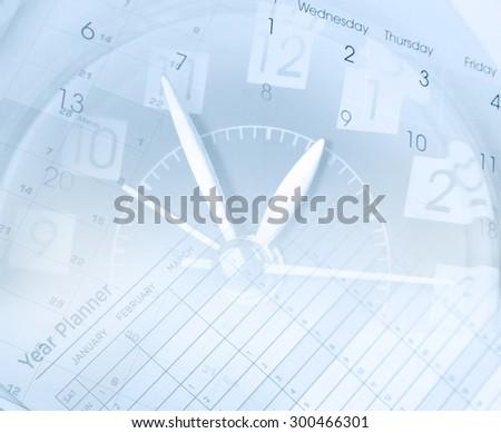 Clock face and calendars composite - stock photo