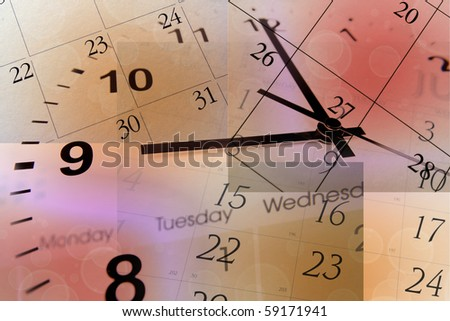 Clock face and calendars on color background - stock photo