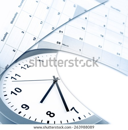 Clock face and calendars on white, copy space - stock photo