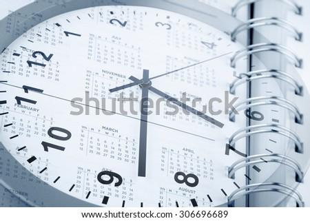 Clock face and diary calendar - stock photo