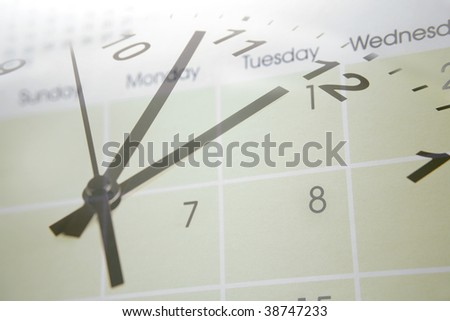 Clock face blending into calendar - stock photo