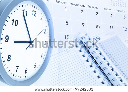 Clock face, calendar page and diary - stock photo