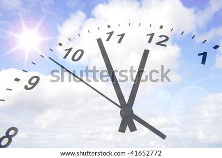 Clock face in blue sky. Copy space. - stock photo