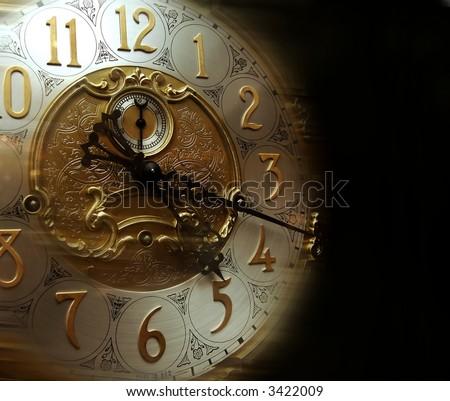 Clock Face Isolated on Black Background - stock photo