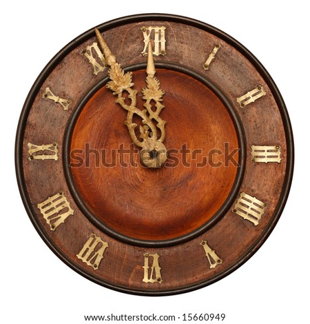 Clock face of wood and ivory - stock photo