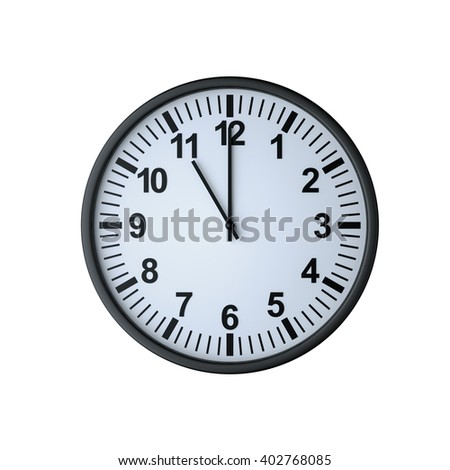 Clock face showing eleven o'clock , isolated on white , 3d render - stock photo