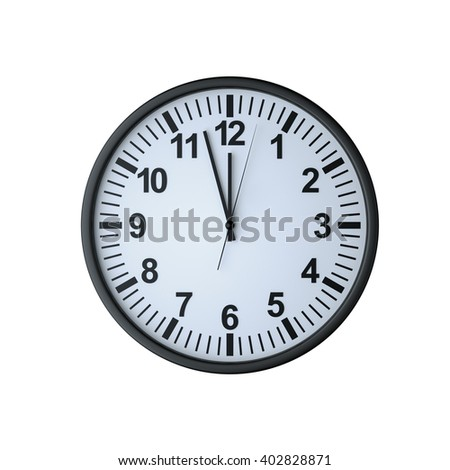 Clock face showing twelve o'clock , isolated on white , 3d rendering - stock photo