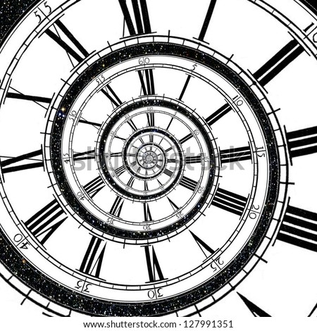 Clock face stretches as a spiral into infinity with a sky full of stars in the background - stock photo
