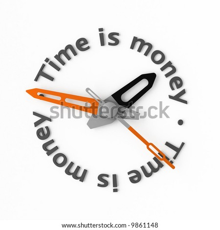 Clock-face with text. Isolated. - stock photo