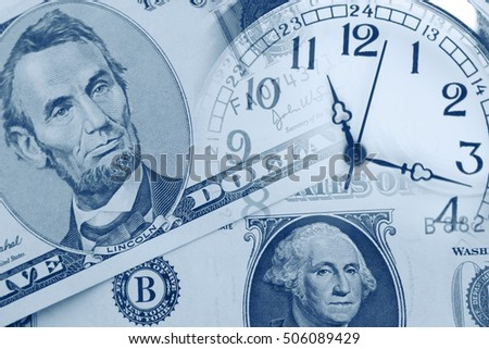 Clock faces and American currency