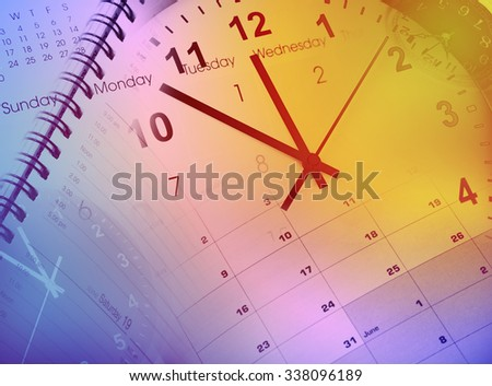 Clock faces and calendars composite - stock photo