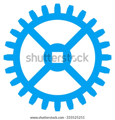 Clock Gear glyph icon. Style is flat symbol, blue color, rounded angles, white background. - stock photo
