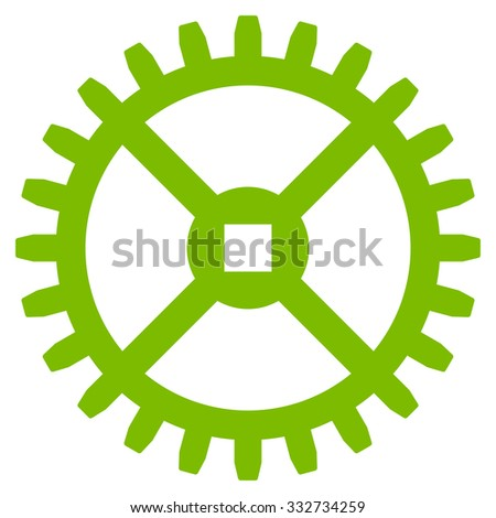 Clock Gear glyph icon. Style is flat symbol, eco green color, rounded angles, white background. - stock photo