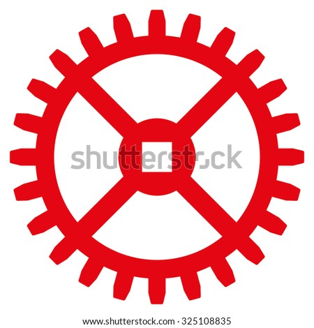 Clock Gear illustration icon. Style is flat symbol, red color, rounded angles, white background. - stock photo