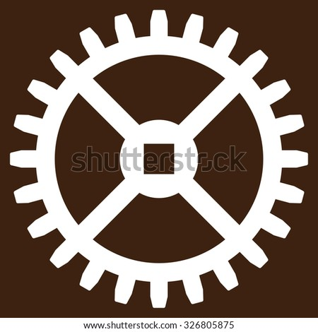 Clock Gear illustration icon. Style is flat symbol, white color, rounded angles, brown background. - stock photo