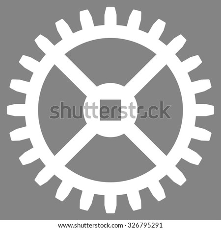 Clock Gear illustration icon. Style is flat symbol, white color, rounded angles, gray background. - stock photo