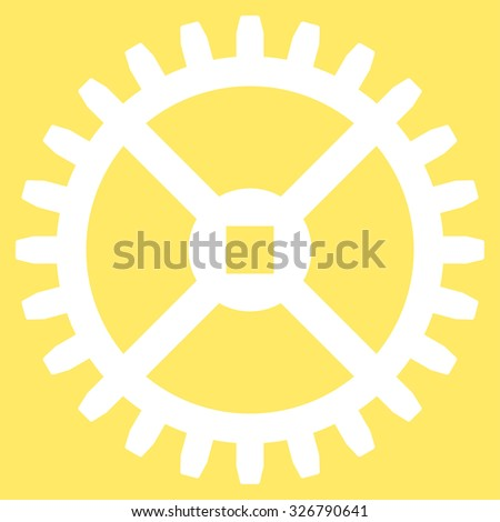 Clock Gear illustration icon. Style is flat symbol, white color, rounded angles, yellow background. - stock photo
