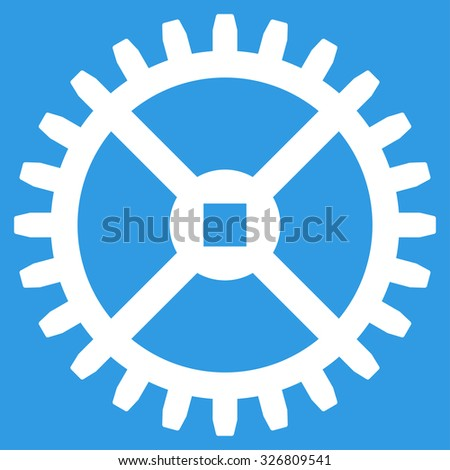 Clock Gear raster icon. Style is flat symbol, white color, rounded angles, blue background. - stock photo