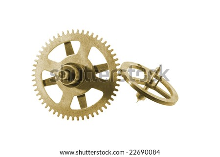 Clock Gear Wheels on Isolated White Background