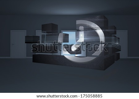Clock graphic on abstract screen against door opening in dark room to show sky